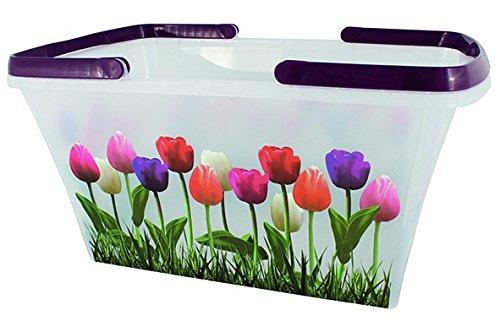 Korb Einkaufskorb Aufbewahrung Multikorb mit Henkel Tragekorb Kunststoffkorb 21 Liter