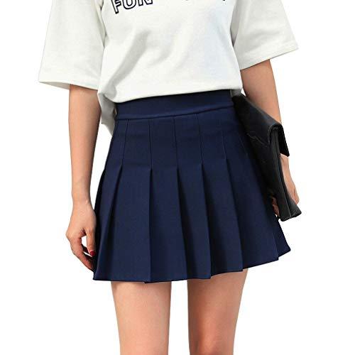 Hoerev Frauen Mädchen Kurze hohe Taille gefaltete Skater Tennis Schule Rock,Navyblau,32 / XS