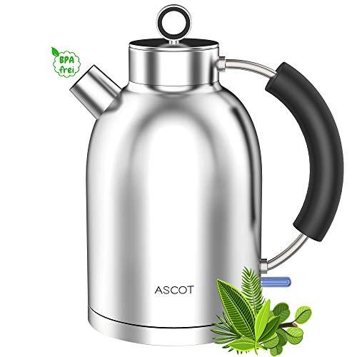 ASCOT Wasserkocher Edelstahl - Wasserkessel Retro Elektrische Teekocher Kettle BPA frei Lebensmittelqualität Material Schnelles Doppelheizung Trockenlaufschutz Auto Herunterfahren 1.6L 2200W