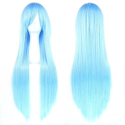 "Fouriding 31.5""/ 80cm Lungo Parrucche Cosplay Capelli Lisci Donna Anime di Bangs completa sexy Parrucche (Verde)"