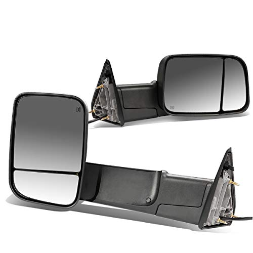 Replacement for RAM 1500 2500 3500 Pair of Black Powered + Heated Glass + Foldable Side Towing Mirrors