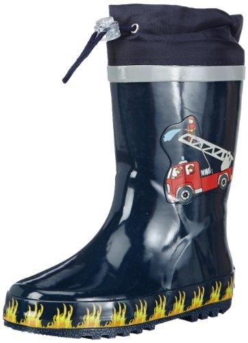 Playshoes Kinder Gummistiefel aus Naturkautschuk, trendige Unisex Regenstiefel mit Reflektoren, mit Feuerwehr-Motiv, Blau (original 900), 24/25