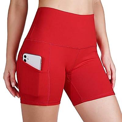 ODODOS High Waist Out Pocket Yoga Short Tummy Control Workout Running Athletic Non See-Through Yoga Shorts,Red,Medium