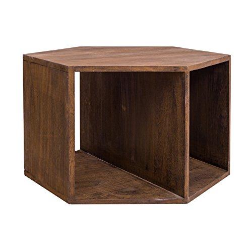Rebecca SRL Table Basse Meuble TV Hexagonale Bois Marron Sombre Moderne Entree Sejour Salon (Cod. RE4652)