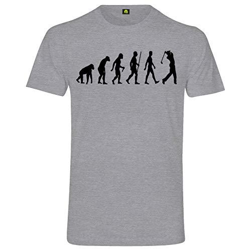 Evolution Golf T-Shirt | Golfspiel | Golfsport | Golfplatz | Ball | Rasen | Loch Grau Meliert XL