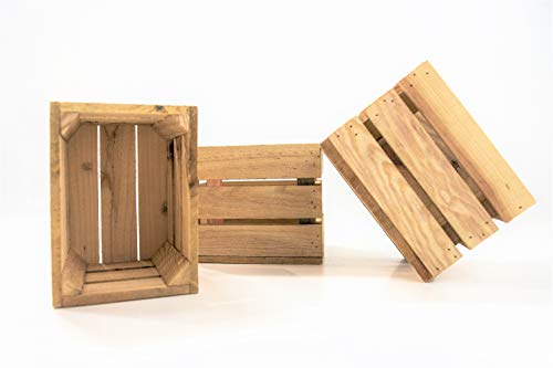 DECORANDO CON SAM 3 Cajas de Madera, 20x15x15cm Caja Natural, Beige. Incluye Imán de Regalo Personalizable.