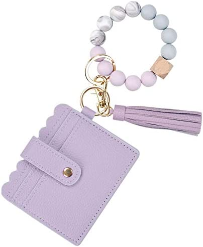 TING CHUN Wristlet Keychain Silicone Beaded Bracelet PU Leather Tassel Wallet Round Bangle Car product image
