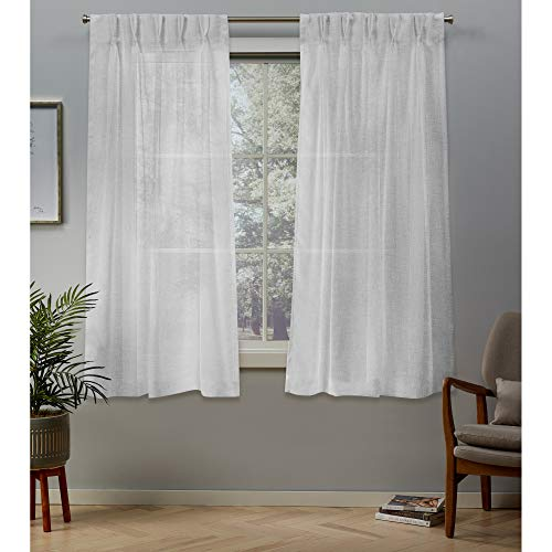 """Exclusive Home Curtains Belgian Textured Linen Look Jacquard Sheer Pinch Pleat Curtain Panel Pair, 63"""" Length, Winter White,EH8325-02 2-63P,2"""