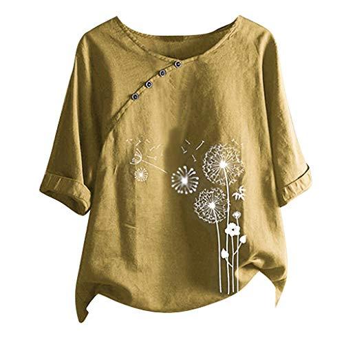 TOWAKM Leinenoberteile Damen Große Größen Geduckte Shirts mit Knopfleiste...