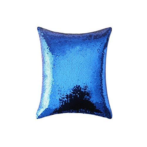 KLily Decoración De Lentejuelas Funda De Almohada Sofá De Casa Dormitorio Sirena Blanco Lago Azul Polvo Púrpura Azul Oscuro Rosa Oro Funda De Almohada Cojín