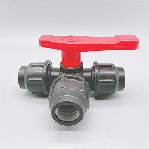 2ST PE Drei-Wege-Schnellanschluss-Rohr-Ventil-Kunststoff-Ventil-T-Typ-Ventil Innendurchmesser 20/25/32/40/50 / 63mm, Breite Anwendung (Specification : 50mm, Voltage : Black)