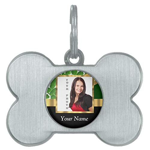 Stainless Steel Pet ID Tags, Irish Shamrock Instagram Photo Template Pet ID Tag, Dog Tags, Cat Tags, Bone Shaped ID Tag for Dogs and Cat