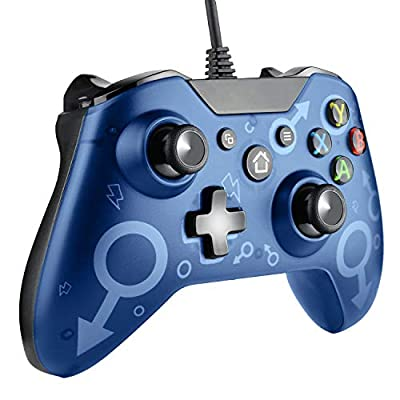 Molyhood Wired Controller for Xbox One, USB Controller Gamepad Joysticks for Xbox One and PC with Dual Vibration 3.5mm Headset Audio Jack