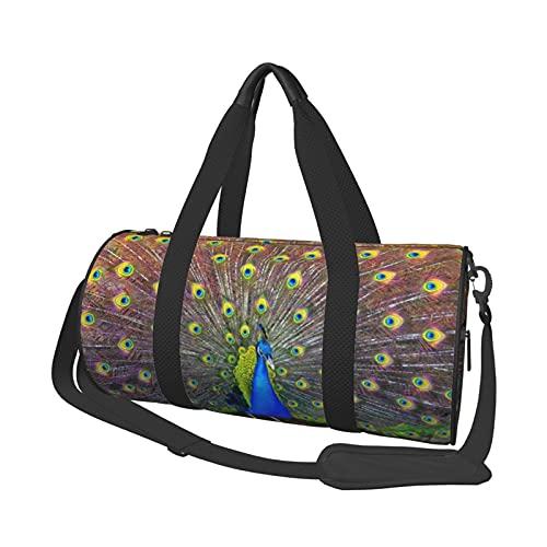 MBNGDDS Elegante bolsa de viaje de pavo real, ligera, plegable, impermeable, con correa para el hombro, bolsa de gimnasio para hombres y mujeres, ver imagen, Talla única,