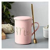陶器 個性 マグカップ Mugs コーヒーカップ ギフト食器 サーモスタンブラー スプーンのふた、カップマグ、ジュースのレモン恋人カップの花茶セットコーヒーカップ 大容量 贈り物 人気 景品 贈答品 男性 女性 (Color : 3)
