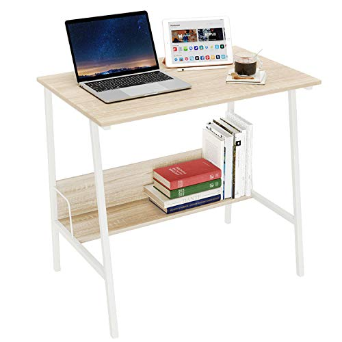 Domy Home Kids Small Desk,Wood Sturdy Writing Table Workstation Storage Shelf Dormitory Study Desk, Simple Student Laptop Writing Table Apartment Office Furniture Bed Table for Small Place