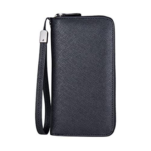 YQQMC Cartera de cuero para hombre, color negro, con cremallera grande, alrededor de la bolsa de embrague, soporte para teléfono, carteras de escritura duraderas (color negro)