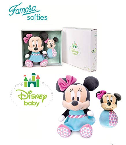 Famosa Softies Disney Baby - Set Caja Regalo Minnie Mouse Peluche + Baby Sonajero Calidad Super Soft