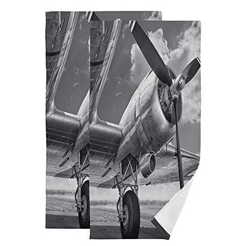QMIN - Juego de 2 toallas de mano con estampado de aviones para cocina, baño, yoga, gimnasio, playa, 71,9 x 36,6 cm