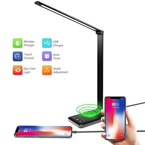 Acko Lámpara de computadora, lámpara LED de computadora con puerto de carga USB, lámpara de oficina LED de carga inalámbrica, 5 modos de iluminación, 5 niveles de brillo,...