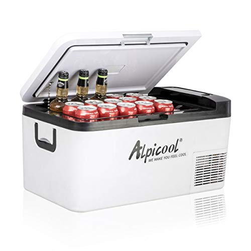 Alpicool K18 Portable Refrigerator Car Fridge Freezer 19 Quart(18 Liter) Vehicle, Truck, RV, Boat, Mini Fridge Freezer for Driving, Travel, Fishing, Outdoor -12/24V DC(-4°F~68°F)
