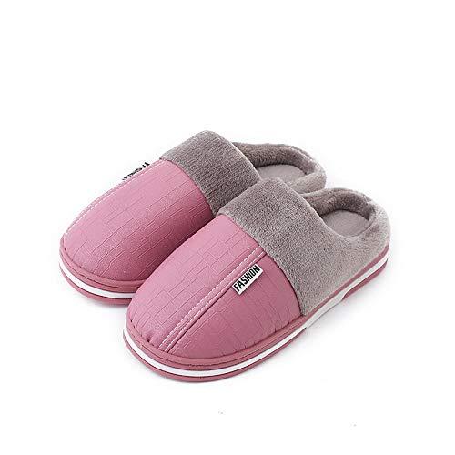 Zapatillas de Estar por Casa para,Zapatillas de invierno con pelusa de pu para el hogar,hombres,mujeres,interiores,impermeables,cálidos,zapatos para el hogar,suela gruesa,rosa de invierno,EU39-40