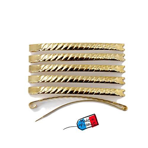 Lot de 12 barrettes cheveux Fildor métal torsadé doré Made in France 5.8cm