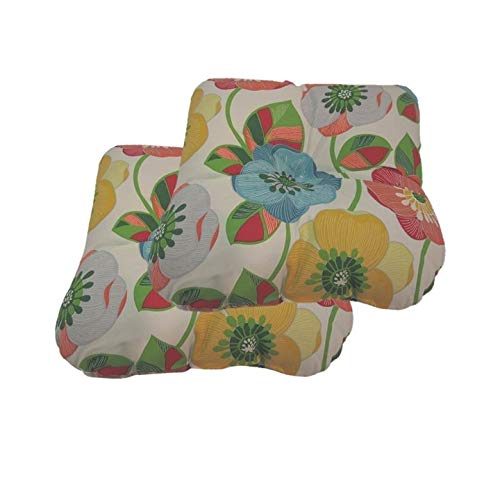 Unknown1 Poppies Indoor/Outdoor Wicker Seat Cushions Set of 2 Multi Color Floral Classic Polyester Uv Resistant