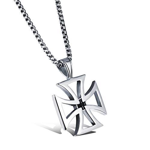 LIANTSH Collar Colgante de Cruz de Hierro de Acero Inoxidable para Mujer para Hombre Personalizado