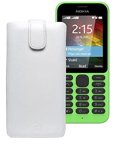 Original Favory Etui Tasche für / Nokia 215 Dual SIM / Leder Etui Handytasche Ledertasche Schutzhülle Case Hülle Lasche mit Rückzugfunktion* in Weiss