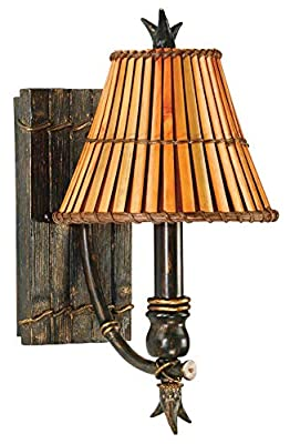 Kenroy Home Kenroy 90451BH Tropical/British Colonial One Light Wall Sconce from Kwai Collection in Bronze/Dark Finish, Heritage