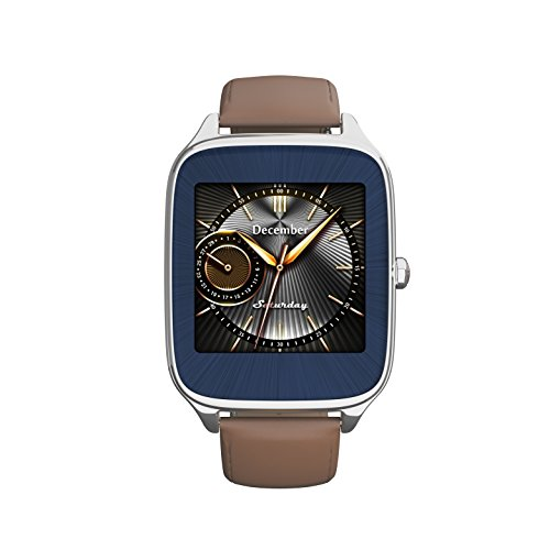 ASUS ZenWatch 2 Silver with Camel Leather Strap 41mm Smart Watch with HyperCharge Battery, 1.63-inch AMOLED Gorilla Glass 3 Touchscreen, 4GB Storage, IP67 Water Resistant