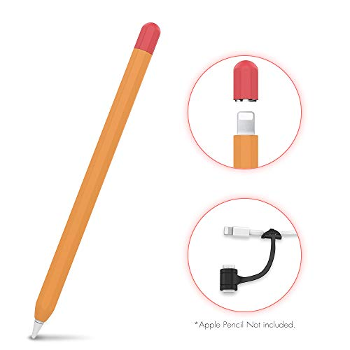 AHASTYLE Duotone Case Skin Silicone Sleeve Cover [ Added Cable Adapter Tether Kit] Compatible with Apple Pencil 1st Generation(Orange)