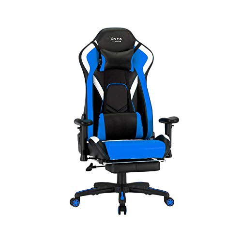 PRIXTON Gaming Chair Ónyx - Silla Gaming con Reposapiés Integrado, Cojín Cervical y Vertical Incluido, Reclinable 180º