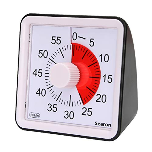 7.8CM Silent Visual Timer Kids 60 Minute Countdown Clock Optional Alarm (3S/60S) Loud/Low Soud for Kid Teacher Classroom Meeting Kid Children or Adults with Special Need (Black Color)