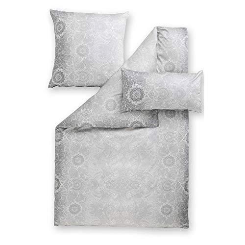 ESTELLA Bettwäsche Marlen | Kiesel | 135x200 + 80x80 cm | bügelfreie Interlock-Jersey-Qualität | pflegeleicht und trocknerfest | ideale Vier-Jahreszeiten-Bettwäsche | 100% Baumwolle