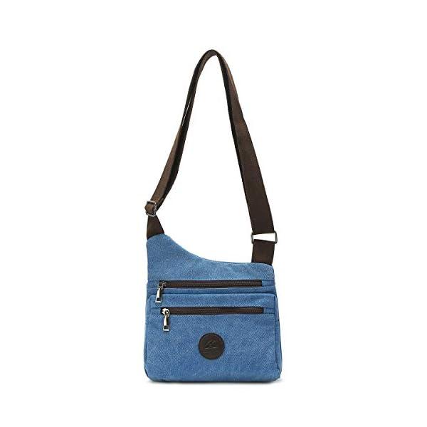 41qfS32l9+L. SS600  - Eshow Bolso Bandolera a Hombro para Mujeres de Tela de Lona Shoppers Viaje Casual Trabajo Escolares