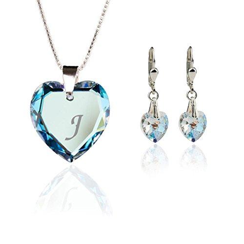 Kristallwerk Kinder Schmuckset, Kette und Ohrringe 925 Silber mit Swarovski Elements Herzanhänger Farbe Blue AB und Gravur Buchstabe J