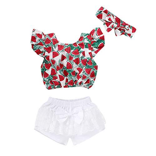 BBSMLIN Ropa Bebe Niña Verano 2020 Ropita para Recién Nacido Bebé 6 a 12 18 Meses 2 a 3 Años - 3PC Conjunto, Sandía Blusa + Pantalón Cortos con Encajes un Lazo + Cintas de Pelo