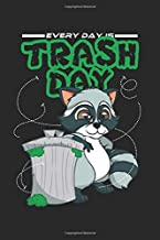 Notebook: Raccoon Lover Gift - Everyday Is Trash Day Black Lined College Ruled Journal - Writing Diary 120 Pages
