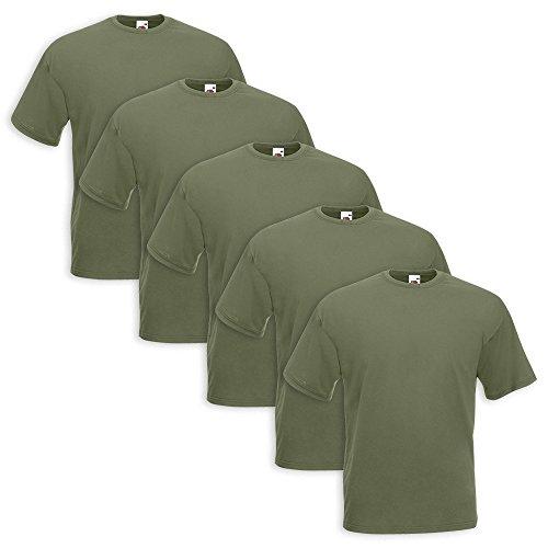 Set 5 T-Shirt Fruit Of The Loom (5 Pezzi Verde Militare - M - 4)