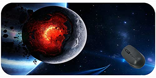 Gaming Mouse Pad Customized Extended,Space Cataclysm Planet Art Explosion Asteroids Comets Fragments Mouse Pad with Stitched Edge
