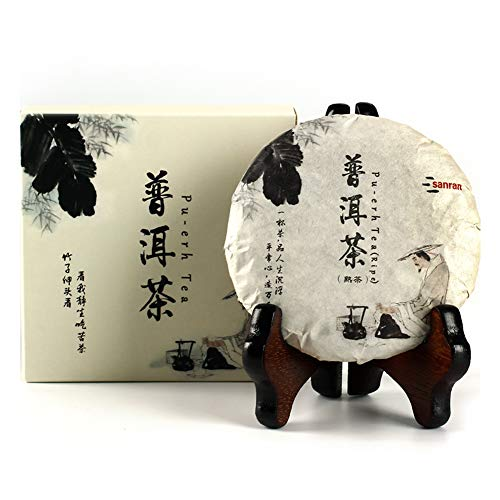 Aged Pu-erh Tea, Ripe Puerh Tea Cake, Year 2009, Organic and Fermented Chinese Black Tea for Daily Drink and Gift (100g/3.53oz)