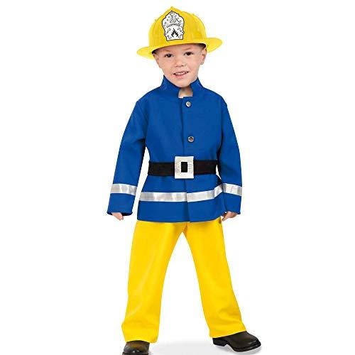 KarnevalsTeufel Kostüm-Set Feuerwehrmann - Feuerwehr Kleiner Held, Kinderkostüm und Helm (104)