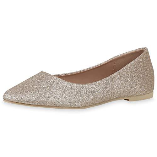 SCARPE VITA Damen Klassische Ballerinas Elegante Slip On Schuhe Glitzer Slipper Flache Abendschuhe 189575 Gold 39