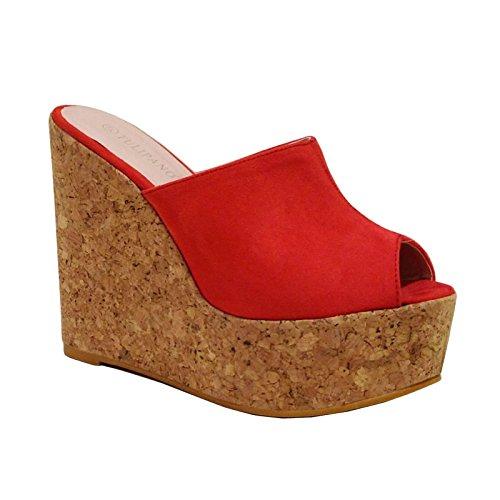 Toocool - Zapatos de mujer cuña cuña cuña de ante corcho, tacón alto, plataforma CA128 Rojo Size: 40 EU