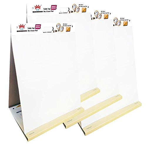 4 Packs 4A Super Sticky Table Top Dry Erase Pad+Easel Pad 2 in 1,Portable White Premium Self Stick Paper,Built-in Easel Stand,Self-Stick Notes,20X23 Inches,Large Size,25 Sheets/Pad,4A Meeting 52