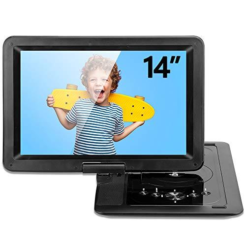 DR.J 14型ポータブルDVDプレーヤー 1280×800高画質液晶 4000mAバッテリー 5時間超長再生 リージョンフリー レジューム機能搭載 CPRM/SD/AV/USB対応 テレビと接続可