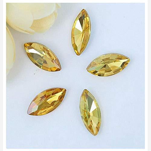 Lot de 50 perles en verre céladon en forme d'œil de cheval à coller sur des strass pour décoration d'ongles Doré 5 x 10 mm
