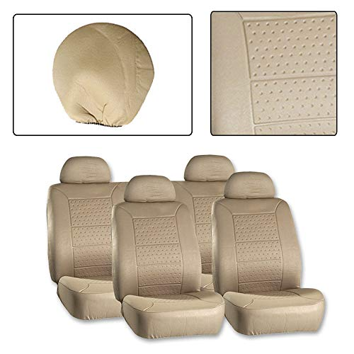 ROADFAR Seat Cover Universal Car Seat Cushion w/Headrest - 100% Breathable Washable Automotive Seat Covers Replacement fit for Most Cars(Beige)